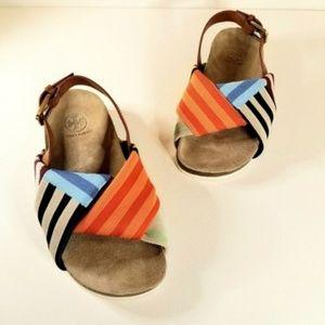Tory Burch Platform Corey Striped Cork Sandals